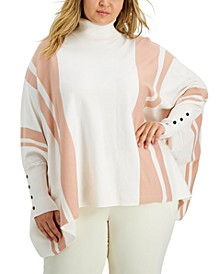 Plus Size Striped Poncho Top, Created for Macy's