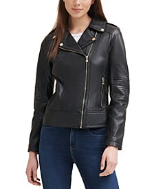 Leather Moto Coat, Created for Macy's