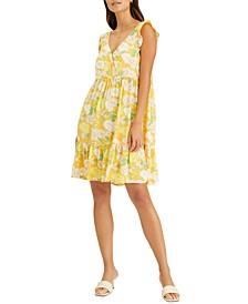 Carefree V-Neck Printed Babydoll Dress
