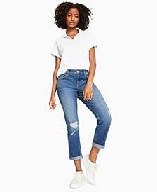 Petite Ripped Cuffed Jeans, Created for Macy's