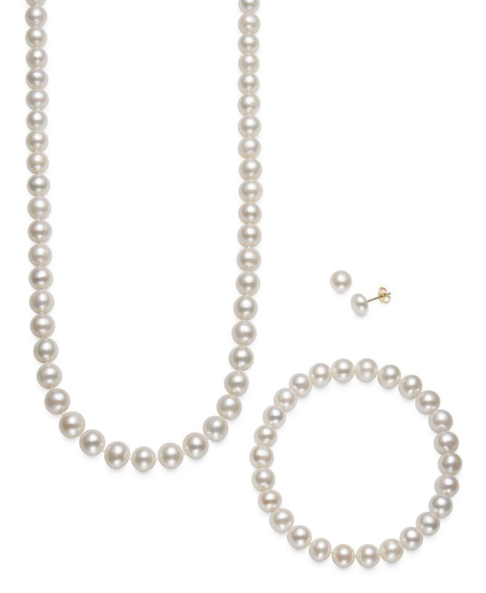 Macy's - Cultured Freshwater Pearl 3 Piece Set, Necklace, Earrings and Bracelet