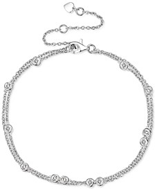 Diamond Bezel Multi-Layer Chain Bracelet (1/10 ct. t.w.) in Sterling Silver, 14k Gold-Plated Sterling Silver or 14k Rose Gold-Plated Sterling Silver