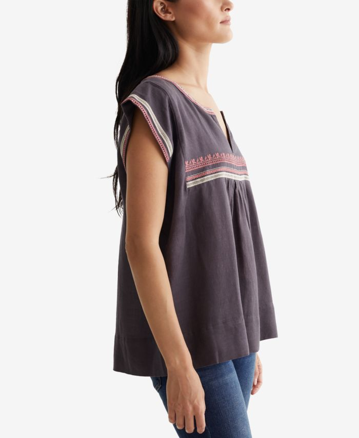 Lucky Brand Embroidered Split-Neck Top & Reviews - Tops - Women - Macy's