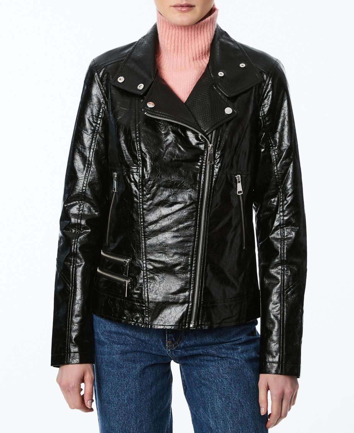 Juniors' Faux-Leather Moto Jacket