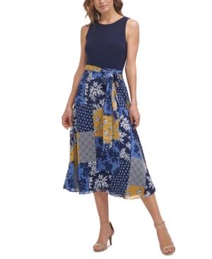 Printed Tie-Waist Chiffon Midi Dress