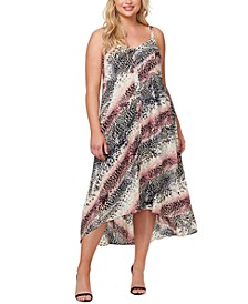 Plus Trendy Fria Printed Smocked-Back Dress