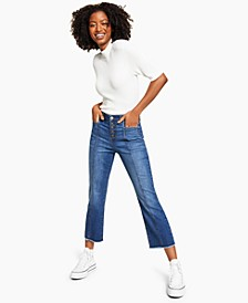 Petite Button-Fly Tummy Control Jeans, Created for Macy's