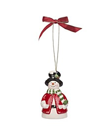 Christmas Tree Snowman Bell Ornament