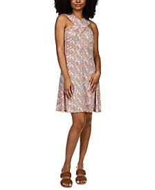 Petite Crossover-Neck Printed Dress