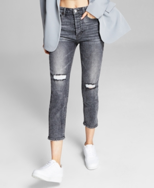 Women's High-Rise Vintage Straight Button Cuffed Jeans