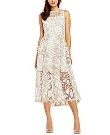 Floral-Appliqués Midi Dress