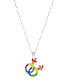 "Pride Rainbow Interlocking Women's Symbol 18"" Pendant Necklace in Sterling Silver"