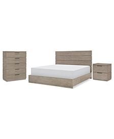 Milano 3pc Bedroom Set (Queen Bed, Chest & Nightstand)