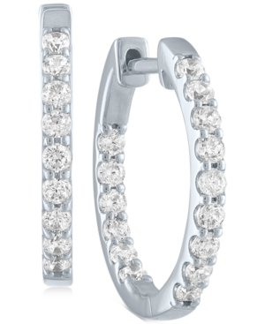 Lab-Created Diamond In & Out Hoop Earrings (3/4 ct. t.w.) in Sterling Silver
