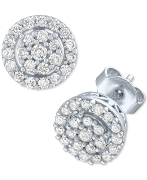 Lab-Created Diamond Halo Cluster Stud Earrings (1/2 ct. t.w.) in Sterling Silver