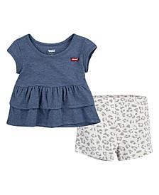 Little Girls Tiered Peplum Top and Shorts Set