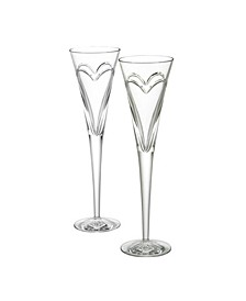 """Wishes """"Love Romance"""" Toasting Flute, Set of 2"""