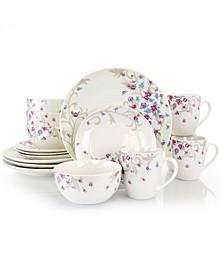 Floral Splash Round Fine Ceramic Dinnerware Set, 16 piece