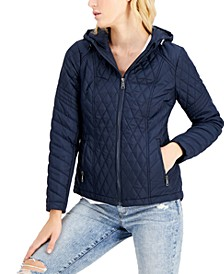 Juniors' Hooded Quilted Raincoat, Created for Macy's
