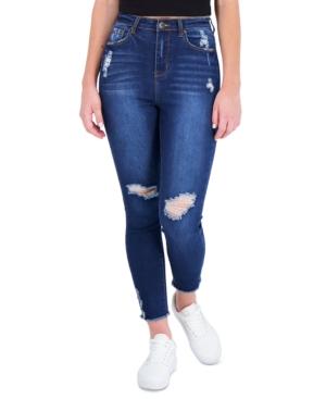 Juniors' High Rise Distressed Skinny Jeans