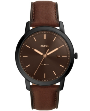 FOSSIL THE MINIMALIST SOLAR-POWERED BROWN LEATHER WATCH, 44MM