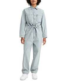 Belted Relaxed-Fit Denim Jumpsuit