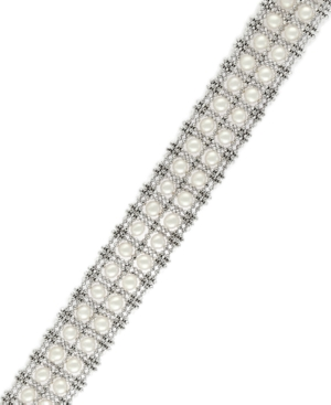 Pearl Lace by Effy Cultured Freshwater Pearl Two-Row Tennis Bracelet in Sterling Silver (3-1/2mm)