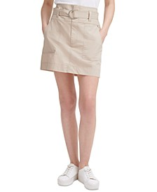 Cotton Belted Cargo Skirt