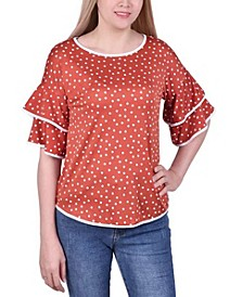 Women's Double Bell Sleeve Top with Contrast Binding