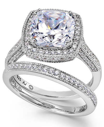 Arabella Sterling Silver Ring Set Swarovski Zirconia Bridal And Band 7