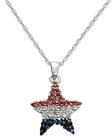 Diamond Flag Star Pendant Necklace in Sterling Silver (1/4 ct. t.w.)