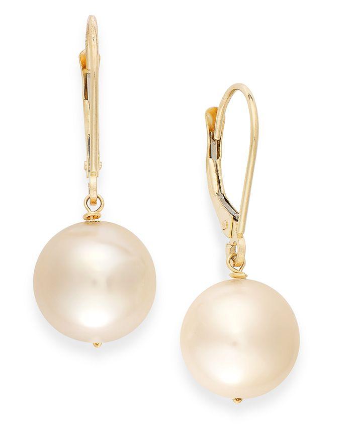 Macy's - Cultured Freshwater Pearl Earrings in 14k Gold (10mm)