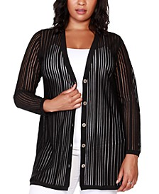 Black Label Plus Size Striped Long Sleeve Button-Front Cardigan