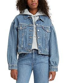 Cotton Pleated-Sleeve Denim Trucker Jacket