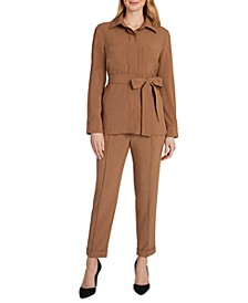 Tie-Waist Shirt Jacket & Pull-On Cropped Pants