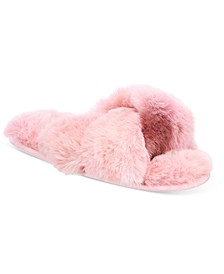 Women's Faux-Fur Solid Crossband Slippers, Created for Macy's