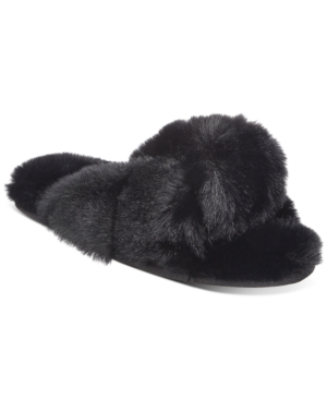 Women's Faux-Fur Solid Crossband Slippers