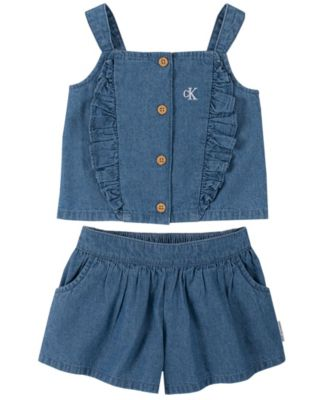 Toddler Girls Denim Ruffle Trim Top and Flare Shorts  Set