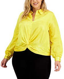 Plus Size Satin Twist-Hem Shirt, Created for Macy's