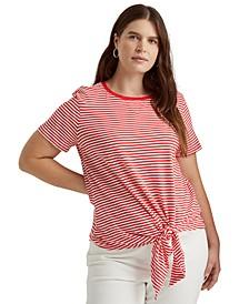 Plus-Size Tied-Hem Slub Jersey T-Shirt