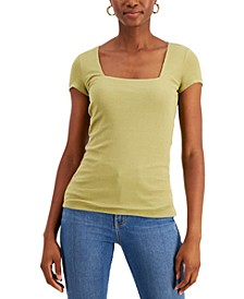 Ribbed Square-Neck T-Shirt, Created for Macy's