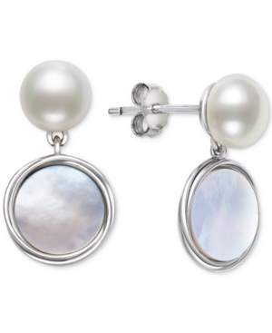 Cultured Freshwater Pearl (7mm) & Mother-of-Pearl Disc Drop Earrings in Sterling Silver