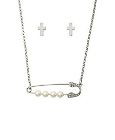 Safety Pin Necklace and Earring Jewelry Set