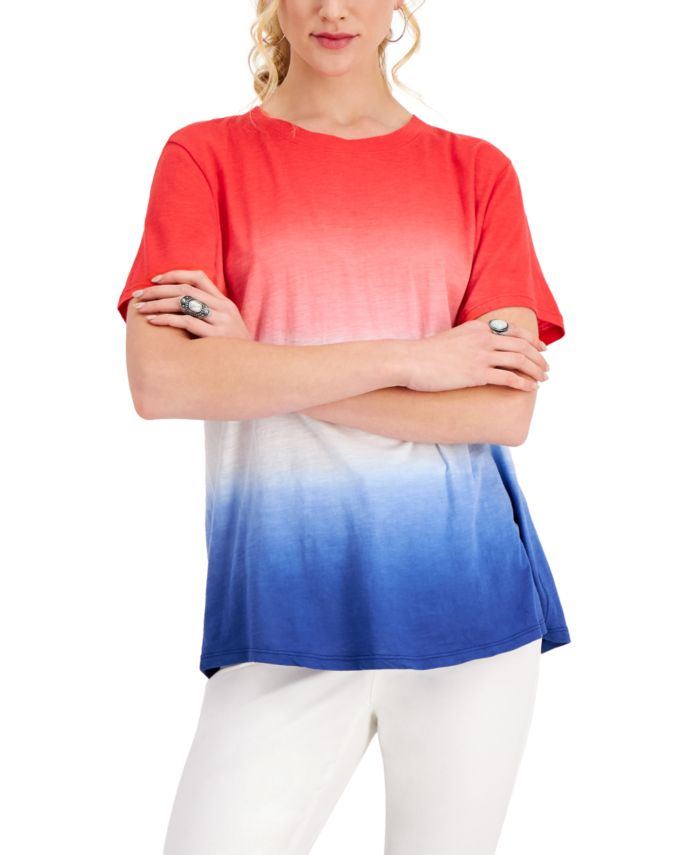 Style & Co Cotton Dip-Dyed T-Shirt, Created for Macy's & Reviews - Tops - Women - Macy's