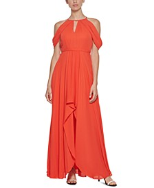 Solid Chiffon Cold-Shoulder Gown