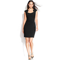 Calvin Klein Womens Cap-Sleeve Cutout-Neckline Sheath Dress (Black)