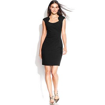 Calvin Klein Womens Cap-Sleeve Cutout-Neckline Sheath Dress