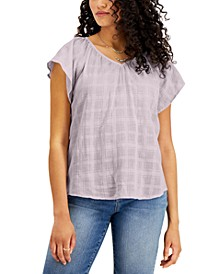 Solid Flutter-Sleeve V-Neck Top, Created for Macy's
