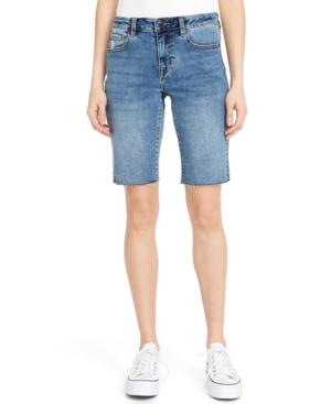 Mid-Rise Denim Cut-Hem Boyfriend Shorts