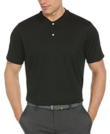 Men's Moisture-Wicking Baseball-Collar Piqué Polo Shirt